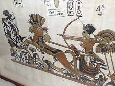 Vintage Egyptian Painting Papyrus Paper Hyksos Chariot Bow Wooden Frame Artwork