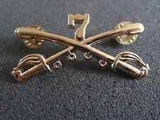 U.S Military 7th Cavalry Metal Hat Badge Pin Crossed Sabers Swords Insignia
