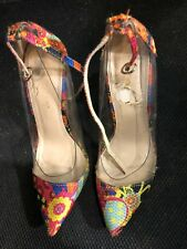 """Shoes, LILIANA,pump, clear sides with very colorful fronts & heel, 4"""" 6 1/2M"""