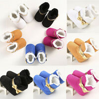 Winter Warm Newborn Baby Toddler Girl Snow Boots Soft Sole Bow Crib Shoes 0-18M