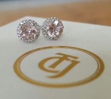 0.80tcw Morganite and 0.10tcw Diamond Stud Earrings 18ct 18k White Gold by CTJ