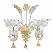 Wandleuchte mit Ringen 2 Lichter Glas Murano Bernstein Struktur Gold