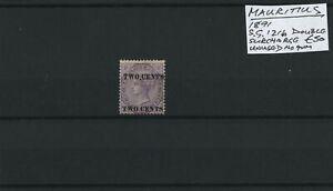 Mauritius 1891 SG.121b Double Surcharge Unused no gum