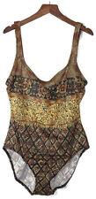 OSCAR DE LA RENTA One Piece Black/Gold Glitter Swimsuit Women's size 14