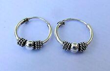 Pair Of Sterling Silver  Indo  Bali  Ball  Hoop Earrings 12 mm  !!        New !!