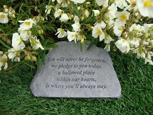 You will never be forgotten Memorial Garden Stone Plaque Grave Marker Ornament