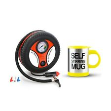 260PSI Auto Car Electric Tire Inflator with Self Stirring Mug (Yellow)