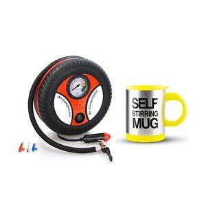 260PSI Auto Car Electric Tire Inflator with Self Stirring Mug (Yellow)