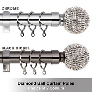 Diamond Extendable Metal Curtain Pole Poles 28mm Includes Finals Rings Fittings