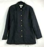 ORVIS Womens Quilted Black Winter Coat Jacket Button Up Lined Size Large