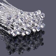 Clear Crystal Rhinestone Diamante Hair Pins Wedding Bridal Prom Party Gifts