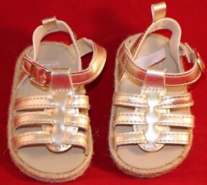 Carter's - Gold Sandals - Slip on w/strap - 3-6 Months - Used!