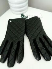 BNWT RLL Ralph Lauren Black Quilted Leather Wool Touch Gloves  L