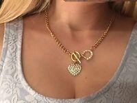 NEU H&M Statementkette Herzkette Kurze Kette Collier Silber Gold Strass Herz
