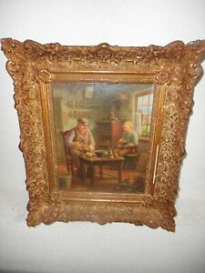 Antique oil painting,{ Interieur with shoemakers, is signed, nice frame! }.