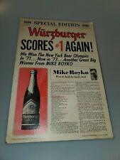 Vintage Wurzburger Mike Royko Chicago Beer Ad Newspaper Cardboard Print Vintage
