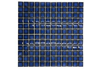 Waxman Ceramic Glazed Mosaic Range Blue Sapphire Tile Sheet 30x30 cm CG-1451