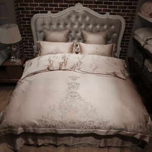 Gold Embroidered Bedding Set Luxury Tribute Silk Egyptian Cotton Queen King Size