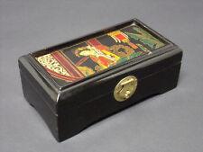 COFFRET BOITE À BIJOUX DÉCOR JAPONISANT BOIS NOIRCI VELOURS 6,5 x 8,5 x 16 cm