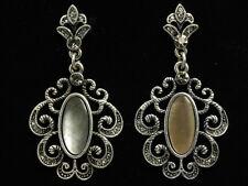Austian crystal natural seashell anti silver plated stud earrings jewlery E03
