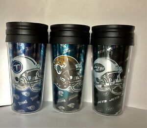 NFL 16oz Logo Wrap Travel Mug Helmet Hologram Style-Choose Your Team