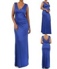 LD8 New Ladies Blue Size 22/24 Sleeveless Long Maxi Stretch Bodycon Dress Plus