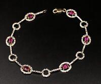 "Ross Simons Sterling Silver Bracelet 925 Pink Topaz Gold Tone 7.5"""