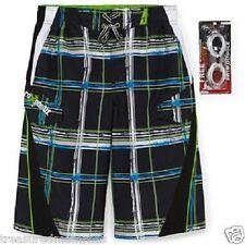 ZeroXposur Board Shorts Swim Trunks & Goggles ~ Size 10/12 ~ Black Barbed Wire