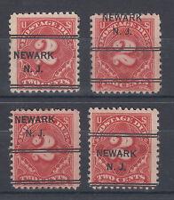 US Sc J62 used 1917 2c Postage Due w/ Misplaced NEWARK, NJ Precancels