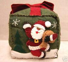 "Christmas Santa Claus Throw Pillow Applique Felt Green 8"" Square Jolly"