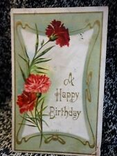 Post Card A Happy Birthday Floral  used  1907-15's 7107 Vintage