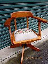 -VINTAGE SOLID TASSIE OAK OFFICE CHAIR - PUO MOSS VALE SOUTHERN HIGHLANDS - VGC~