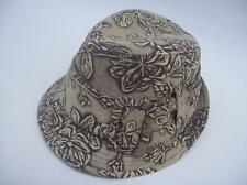 Women's Beige Cotton Floral Printed Fedoras w/Large Buckle - One Size