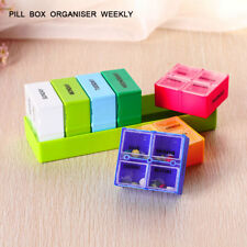 7 Day Pill Organizer Tray with Removable Daily Pill Boxes Dispenser Container