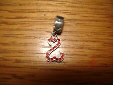 KAY JEWELERS CHARMED MEMORIES RED OPEN HEART JANE SEYMOUR STERLING SLV.SWAROVSKI