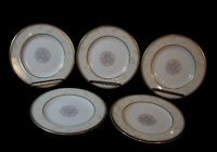 """5 Royal Doulton Naples Gold, White w/ Taupe Scrolls: Bread Plate (s)  6 5/8"""""""
