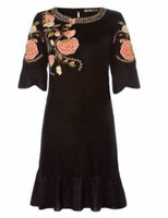 BiBa Bohemian Grande Velvet Black FLoral Dress Ladies Size UK 10 *REF146