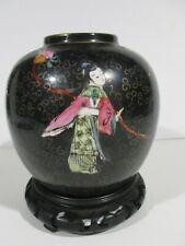 Old Vintage Chinese Black Famille Noir Vase w/Teak Stand w/4 Figural Images