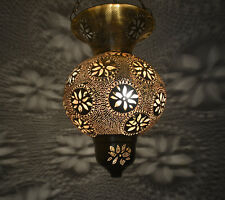 Handcrafted Moroccan Matte Gold Brass Pendant Hanging Lamp Light
