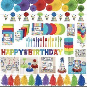 "Happy Birthday Paper NAPKINS 9""~ Rainbow 🌈 BRIGHT Chevron Stripes ~party Decor"