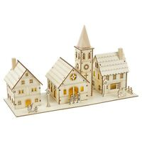 Pre Lit LED Warm White Wooden Christmas Village Church House Scene Decoration