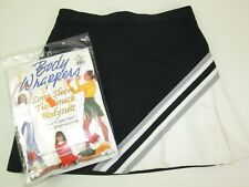 "Girls Cheerleader Uniform Outfit Black Bodysuit size 8/10 Skirt 22-24"" Waist"