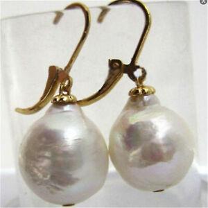 12-16MM HUGE White baroque pearl earrings 18K hook chic Jewelry earbob Gift