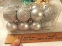 Christmas 16 silver balls glitter small feather tree ornaments Holiday Time
