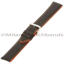 18mm Hadley Roma Thick Soft Genuine Leather Black Orange Stitch Watch Band MS893