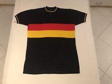 Maglia Ciclismo Lana Vintage Shirt Nero Giallo Rosso Eroica