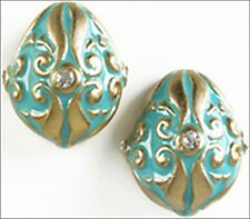 Russian Style Egg Post Earrings in a Light Blue Fancy Design with Crystals