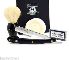 HARYALI OLD BARBER STRAIGHT CUT THROAT RAZOR+WILKINSON BLADES BADGER BRUSH+SOAP
