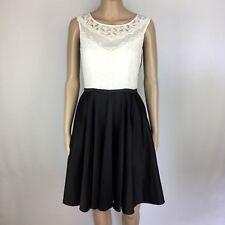 Review Black Dress White Lace Bodice Full Skirt Size 8 (BV20)