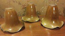 Quoizel Todd Phillips Blown Art Glass Pendant Shades Set of 3 Amber w/Black Trim